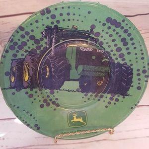 "John Deere Tractor Glass Decoupage 8"" Plate Green"